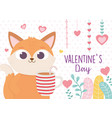 happy valentines day cute fox with cup chocolate vector image vector image