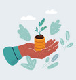 human hand with money plant vector image