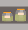 jars with green liquid or matcha pots isolated vector image vector image