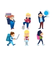 Little Schoolchildren Set vector image