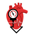lowering blood pressure with heart and measuring vector image vector image