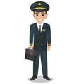 male pilot holding bag vector image