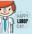man celebrating hoday of labor day vector image