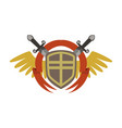 medieval coat arms with crossed swords and vector image