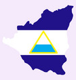 nicaragua map flag with shadow on white vector image vector image