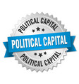 political capital round isolated silver badge vector image vector image
