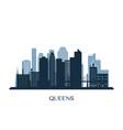 queens skyline monochrome silhouette vector image vector image