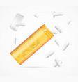 realistic detailed 3d flying orange pills bottle vector image vector image