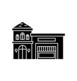 restaurant building black icon concept restaurant vector image