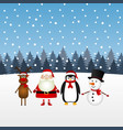 santa claus with snowman reindeer and penguin vector image