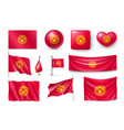 set kyrgyzstan flags banners banners symbols vector image