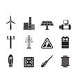 Silhouette Electricity and power icons vector image vector image