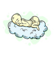 sleeping infant bachild on cloud sketch vector image vector image