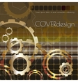 square cover design with golden cogwheels vector image