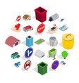 township icons set isometric style vector image vector image