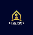 tree pots home template vector image vector image