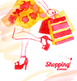 Watercolor shopping women design vector image