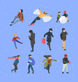 winter isometric people male and female vector image