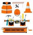 set of construction equipment orange vector image