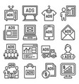 advertisement icons ads sign set on white vector image