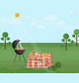 barbecue picnic in a park green nature vector image vector image