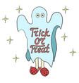 cartoon ghost in badspread trick or treat vector image