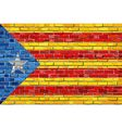 Catalan flag with a white star in brick style