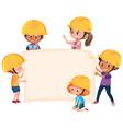 children wearing engineer hat banner vector image