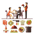 couple dating in restaurant and set dishes vector image