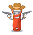 cowboy beer bottle opener isolated on cartoon vector image