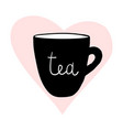 Cups tea mug heart love hand drawn style