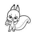 cute cartoon squirrel holds one nut and points vector image vector image