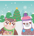cute polar bear and owl trees snow merry christmas vector image