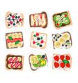 fruit sandwich set vector image vector image