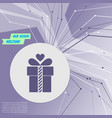 gift box icon on purple abstract modern vector image
