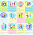 happy grandparents day senior couples and children vector image