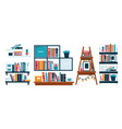 home library bookshelves or office shelf study vector image