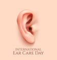 International ear care day background vector image