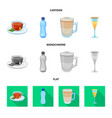 isolated object of drink and bar symbol set of vector image vector image