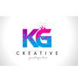 kg k g letter logo with shattered broken blue vector image vector image