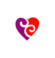 love heart couple swirl logo vector image vector image