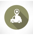 Map pointer with car icon vector image