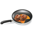 meat in a frying pan vector image vector image