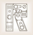 mechanical letter r engraving vector image