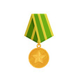 military golden medal with star and green-yellow vector image