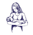 mother holding a baby mothers day hand drawn vector image