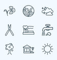 nature icons line style set with clean air water vector image vector image
