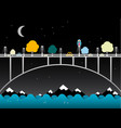 night landscape with bridge over water owl bird vector image