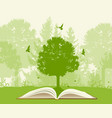 open book with green tree vector image vector image