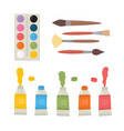 painting tools elements cartoon colorful vector image vector image
